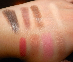 Top Row: Shadows (L-R) Bottom Row: Lip Color, Blushes, Highlight